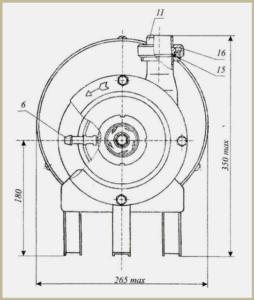 Схема-чертеж габаритов молочного насоса Я9-ОНЦ-1